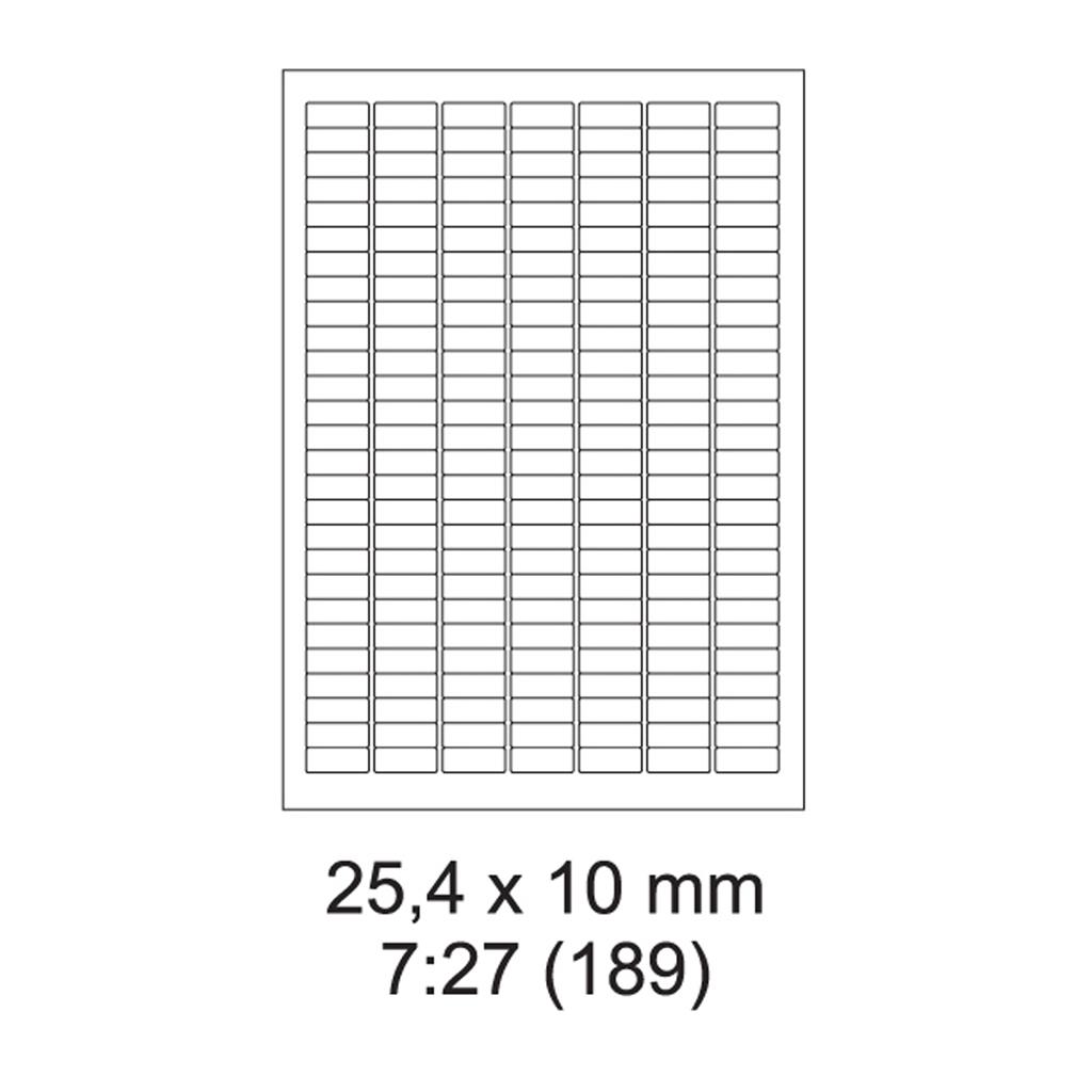 Etikety PRINT biele - 25,4 x 10 mm - (100 hár)