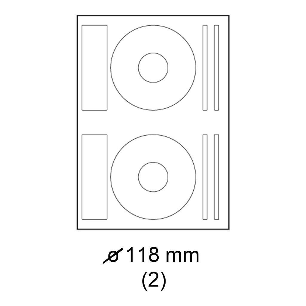 Etikety PRINT biele - priemer 118 mm na CD - (100 hár)
