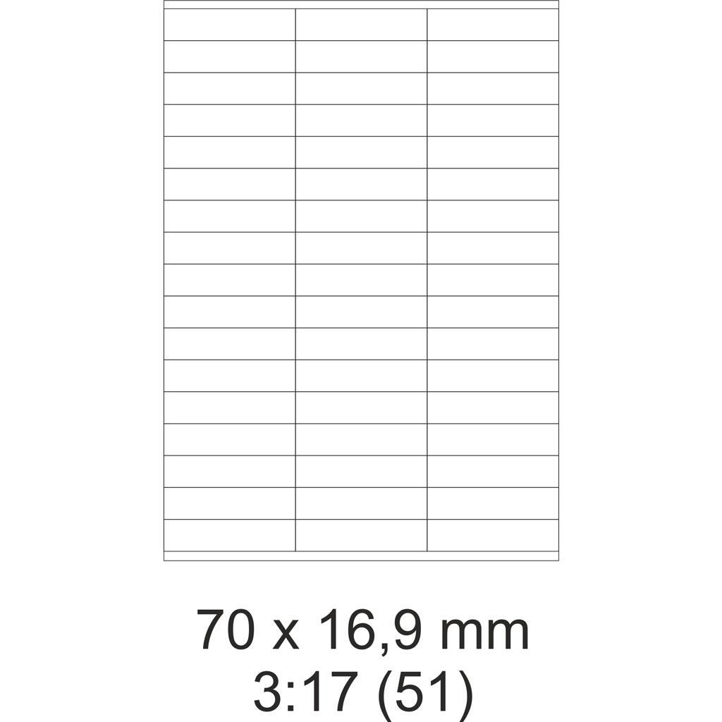 Etikety PRINT biele – 70 x 16,9 mm – (100 hár)
