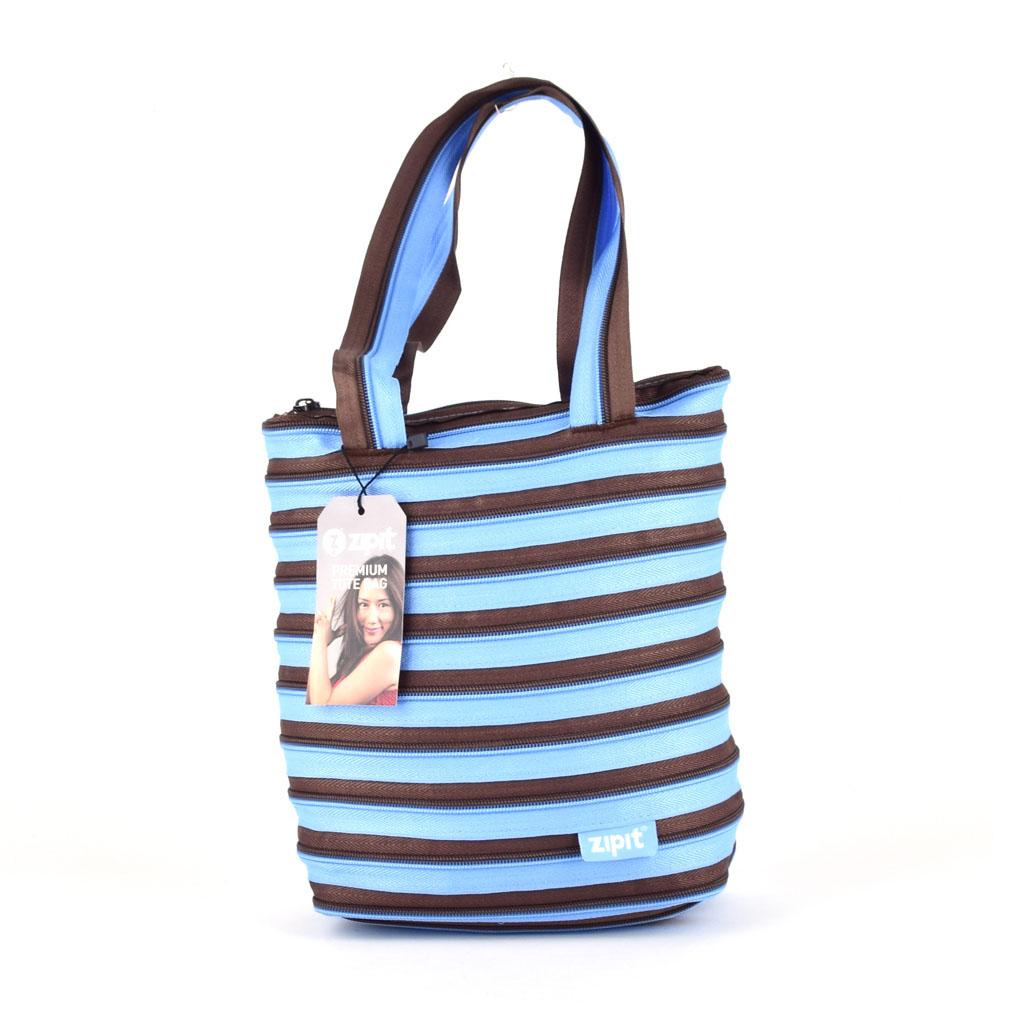 Taška na rameno, modrá s hnedými pásikmi