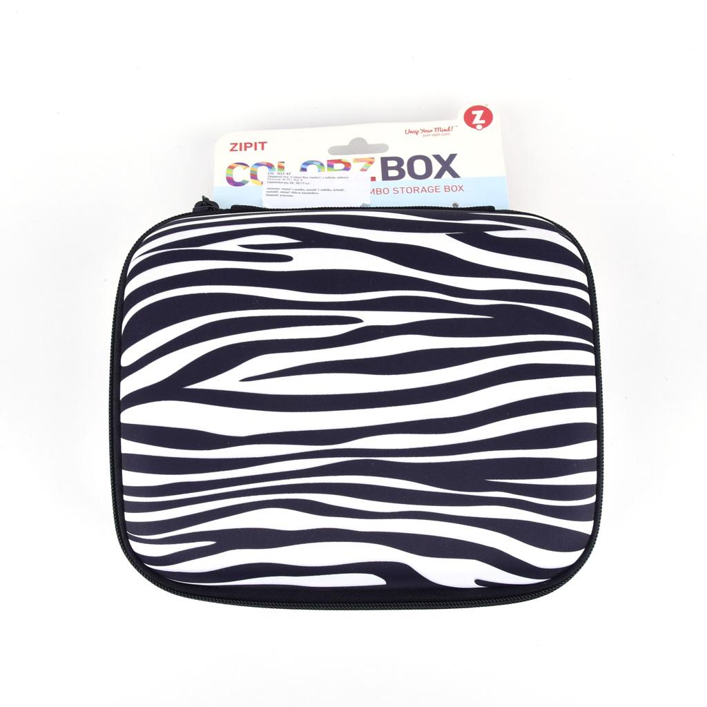"Úložný box 1-zipsový ""Colorz box Jumbo"", s uchom, prázdny, zebrový"