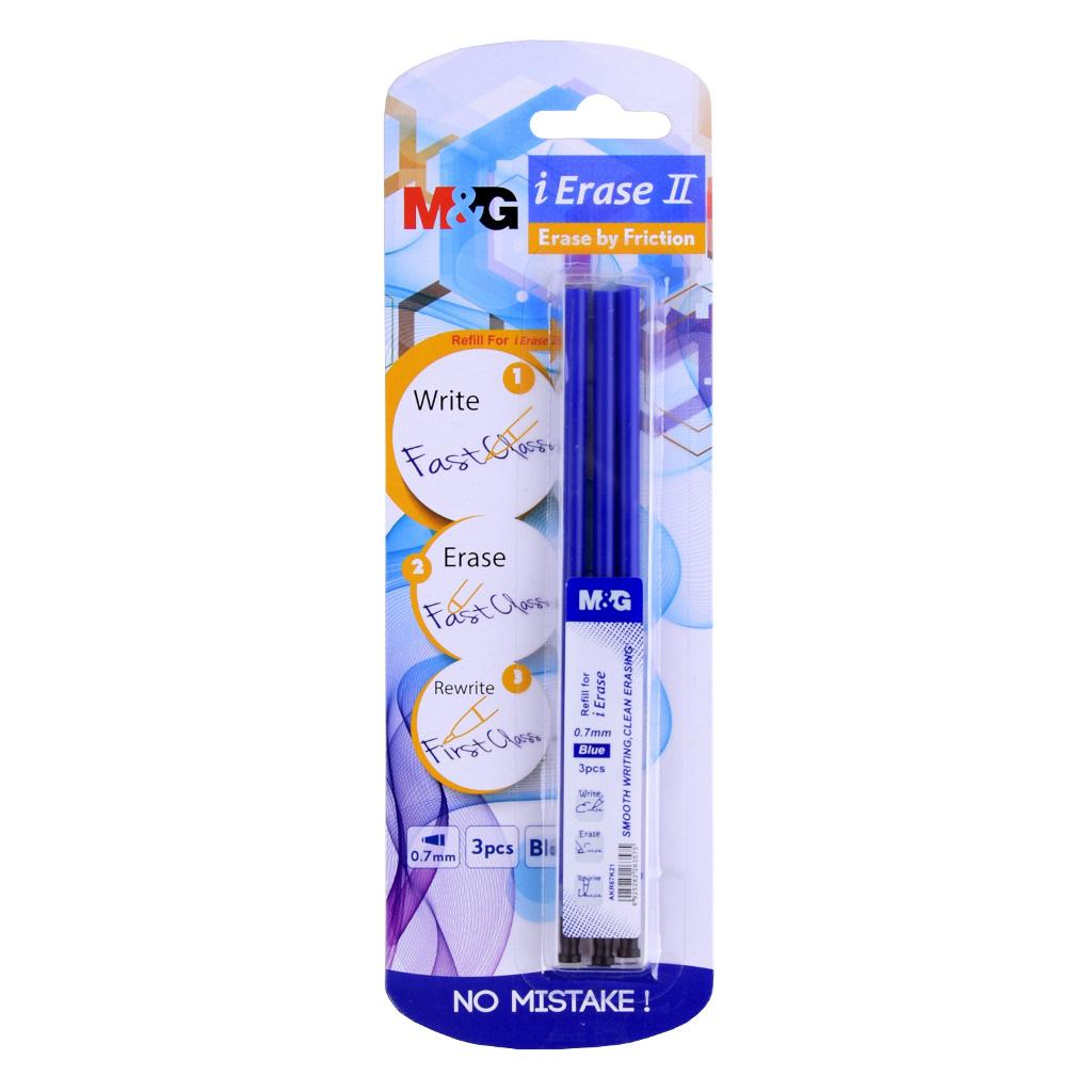 "Náplň do gum. pera M&G ""II"" 0,7mm - modrá, blister 3ks"